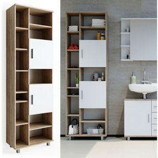 VICCO Badschrank ILIAS 190 x 60 cm Weiß Sonoma - Hochschrank Regal Badregal - Bild 1