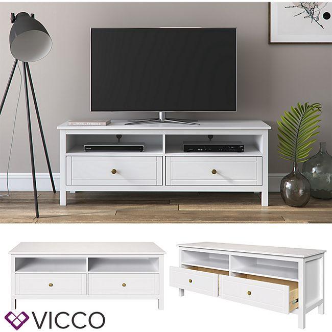 VICCO TV Lowboard HANNES weiß Fernsehschrank Unterschrank Massivholz Schubladen - Bild 1