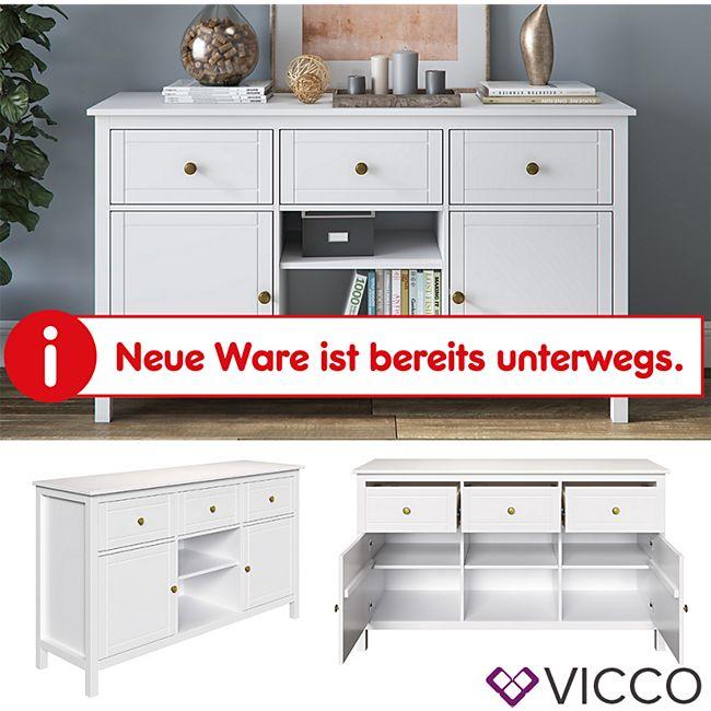 VICCO Kommode HANNES Weiß Sideboard Mehrzweckschrank Schrank Massivholz Anrichte - Bild 1