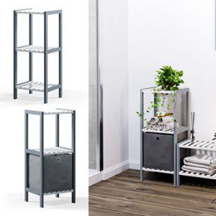 VICCO Bambusregal Standregal Regal 3 Ebenen 1 Box Büromöbel Grau Weiß - Bild 1