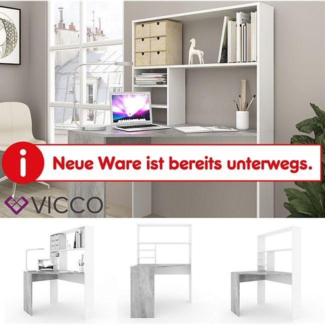 VICCO Eckschreibtisch SIGGI Weiß Beton PC Tisch Arbeitstisch Computer Büro Regal - Bild 1
