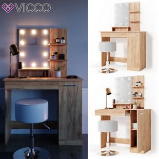 VICCO LED Schminktisch JULIA Frisierkommode Frisiertisch Spiegel Eiche Hocker - Bild 1
