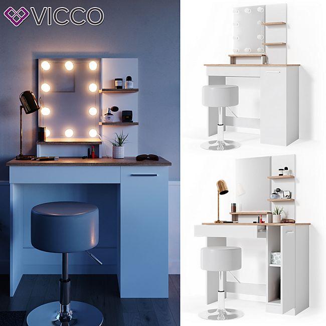 VICCO LED Schminktisch JULIA Frisiertisch Kommode Spiegel Weiß Eiche Hocker - Bild 1