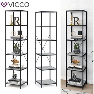 VICCO Loft Standregal Fyrk Bücherregal Wandregal Beton Regal 174x40x40 cm - Bild 1
