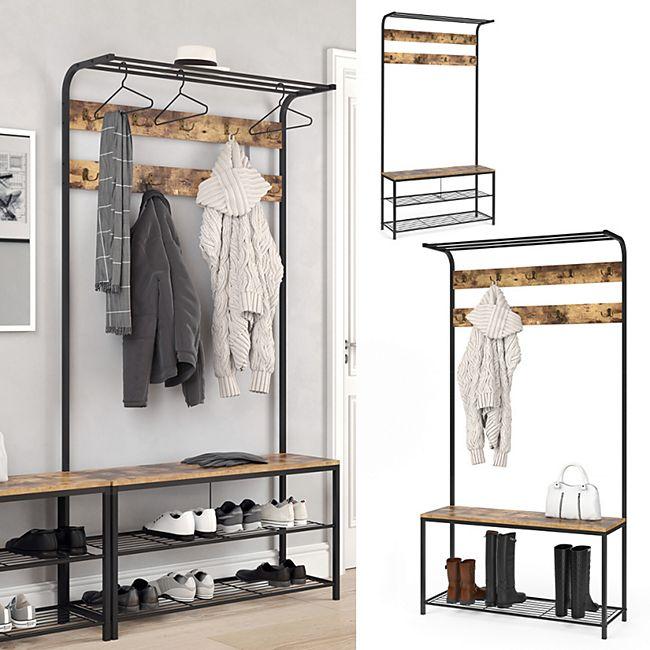 VICCO Garderobenständer FYRK Garderobe Schuhregal Kleiderständer mit Sitzbank - Bild 1