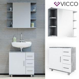 VICCO Badmöbel Set ILIAS Weiß Beton Bad Spiegel Kommode Unterschrank Badschrank - Bild 1