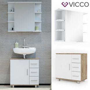VICCO Badmöbel Set ILIAS Weiß Eiche Bad Spiegel Kommode Unterschrank Badschrank - Bild 1