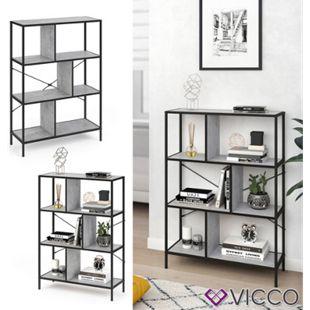 VICCO Loft Bücherregal FYRK Wandregal Standregal Aufbewahrung 113x80x30 Beton - Bild 1