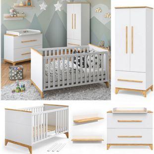 VITALISPA Babymöbel Set MALIA in weiß und Naturholz 5 Teile - Bild 1