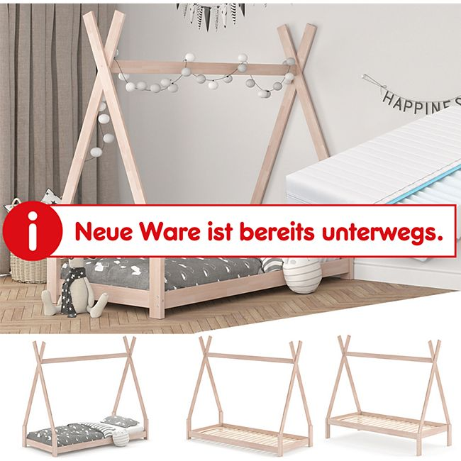 VitaliSpa Kinderbett Tipi Hausbett Natur Bett Kinderhaus Zelt Bett Schublade 90x200cm inklusive Matratze 90x200 cm - Bild 1