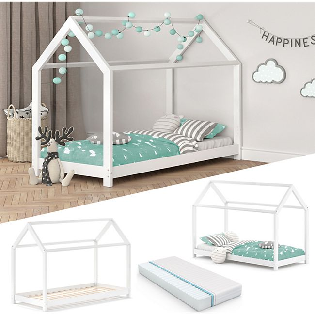VITALISPA Kinderbett WIKI 90x200 cm Weiß Schlafplatz Spielbett Hausbett Kinderhaus + Matratze - Bild 1