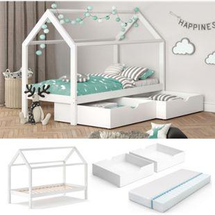 VITALISPA Kinderbett WIKI 90x200 cm Weiß Schlafplatz Schubladen Hausbett Kinderhaus + Matratze - Bild 1