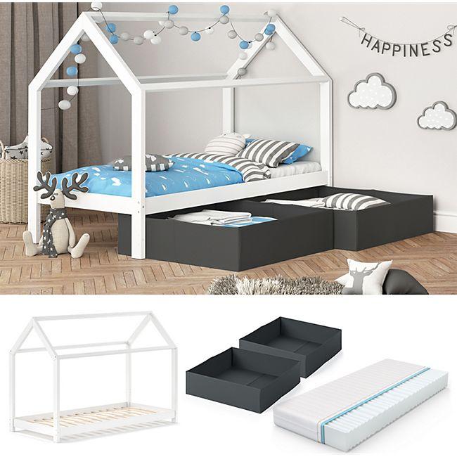 VITALISPA Kinderbett WIKI 90x200 cm Weiß Schlafplatz Faltboxen Anthrazit Kinderhaus + Matratze - Bild 1