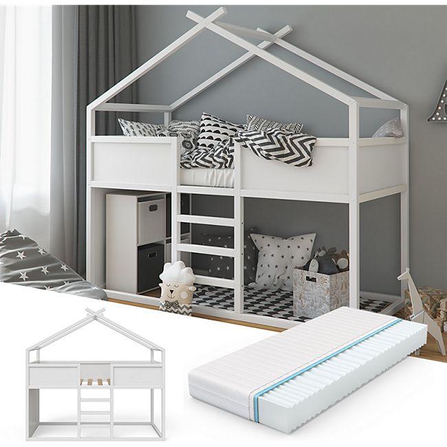 VITALISPA Hochbett Merlin - Spielbett Kinderbett Erle weiß Jugendbett Hausbett + Matratze - Bild 1