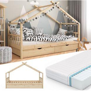 VITALISPA Kinderbett DESIGN Hausbett mit Schubladen und Lattenrost in Klarlack 90x200cm + Matratze - Bild 1