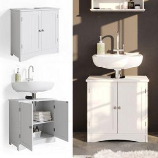 Vicco Wachtischunterschrank Bianco Badschrank Waschbeckenunterschrank Badmöbel Badezimmerschrank im Landhausstil - Bild 1