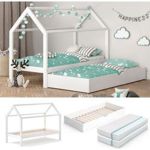 VITALISPA Kinderbett WIKI 90x200 cm Weiß Schlafplatz Unterbett Hausbett Kinderhaus + 2 Matratzen - Bild 1
