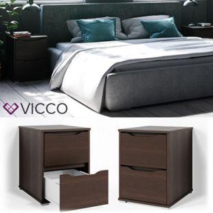 VICCO Nachtschrank RUBEN Nachttisch Wenge Kommode Schlafzimmer Schublade Ablage - Bild 1