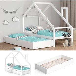 VITALISPA Funktionsbett Kinderbett NICOLE 90x200 mit Bettschublade Holz Haus Spielbett Hausbett weiß - Bild 1