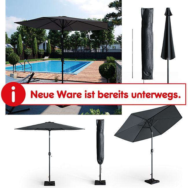 Oskar Sonnenschirm 270cm Set anthrazit inkl Schutzhülle + Ständer Gartenschirm - Bild 1