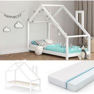 VITALISPA Funktionsbett Kinderbett NICOLE 90x200 Bett Holz Haus Spielbett Hausbett weiß + Matratze - Bild 1