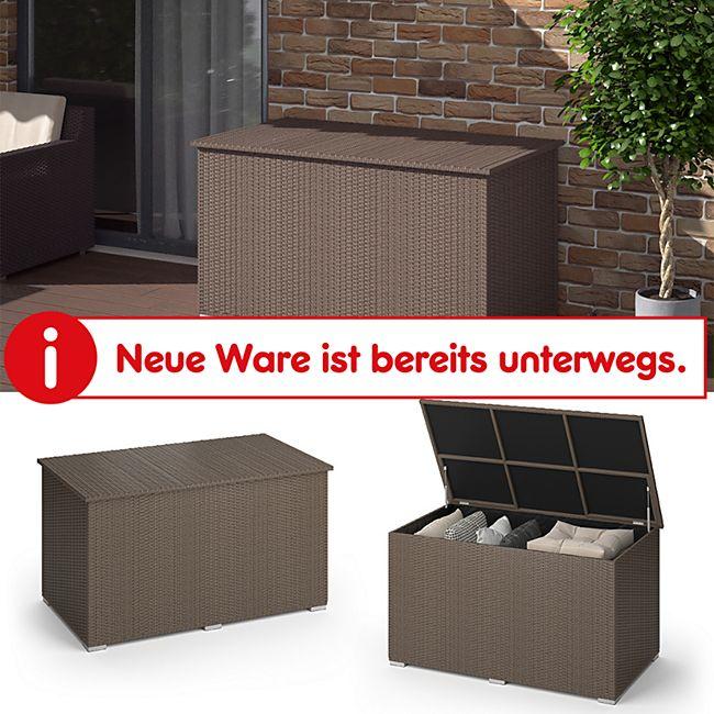 Oskar XXL Polyrattan Kissenbox 950L Auflagenbox Braun Gartenbox Gartentruhe - Bild 1