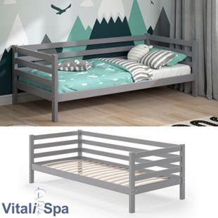 VITALISPA Kinderbett DARCY 90x200cm Grau inkl. Lattenrost Jugendbett Juniorbett - Bild 1