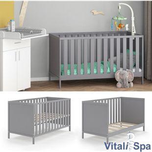 VITALISPA Babybett JONAS 70x140cm Gitterbett Umbaubett Kinderbett umbaubar grau - Bild 1