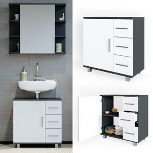 Vicco Waschtischunterschrank Ilias Badschrank Badezimmerschrank Waschbeckenunterschrank Unterstellschrank Weiß Anthrazit - Bild 1
