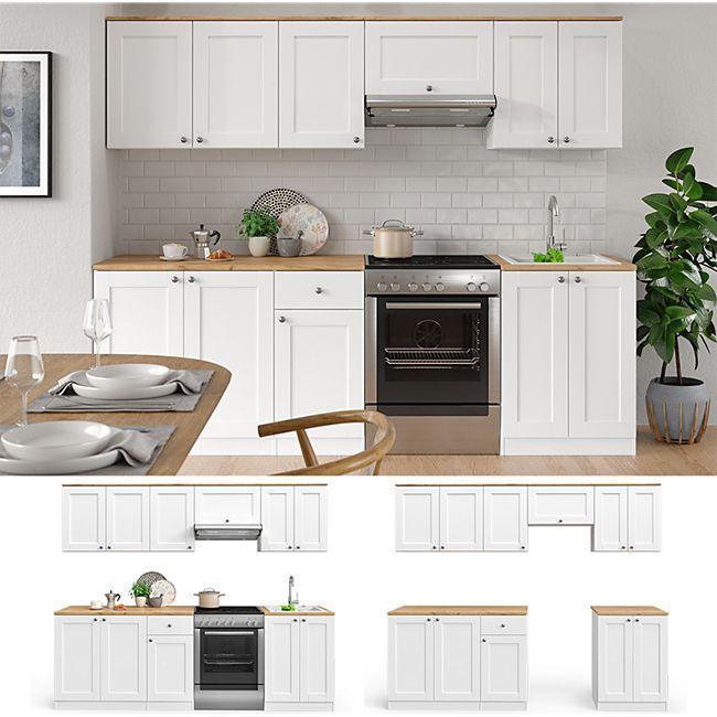 VICCO Küchenzeile Cambridge 240cm Landhaus Stil Einbauküche Komplettküche Küche weiß - Bild 1