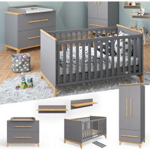 VITALISPA Babymöbel Set MALIA in anthrazit und Naturholz 5 Teile - Bild 1