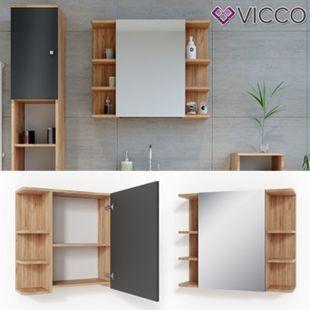 VICCO Spiegelschrank FYNN 80 x 64 Eiche Anthrazit Spiegel Badspiegel Wandspiegel - Bild 1