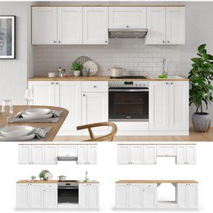 VICCO Küchenzeile INGA 240cm Landhaus Stil Einbauküche Komplettküche Küche weiß - Bild 1