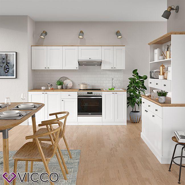 VICCO Küchenzeile Cambridge 9cm Landhaus Stil Einbauküche Komplettküche  Küche weiß
