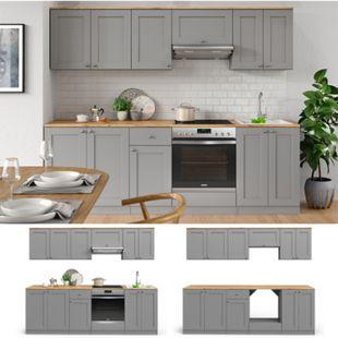 VICCO Küchenzeile Cambridge 240cm Landhaus Stil Einbauküche Komplettküche Küche grau - Bild 1