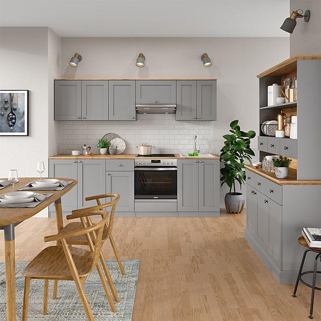VICCO Küchenzeile Cambridge 8cm Landhaus Stil Einbauküche Komplettküche  Küche grau