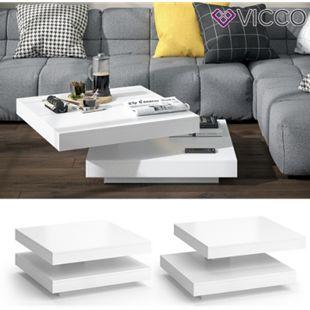 VICCO Couchtisch ELIAS weiß 360° drehbar 78 x 78 x 34 cm Wohnzimmertisch Tisch - Bild 1