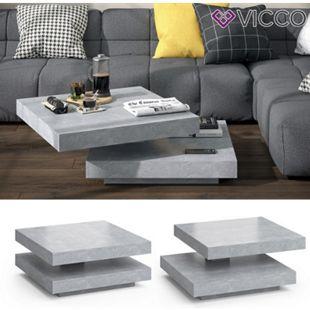 VICCO Couchtisch ELIAS beton 360° drehbar 78 x 78 x 34 cm Wohnzimmertisch Tisch - Bild 1
