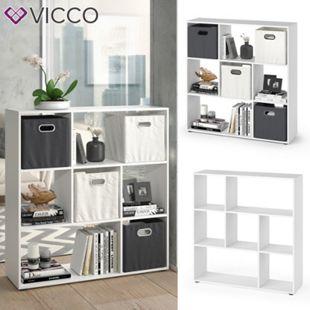 VICCO Raumteiler NOVE 7 Fächer Weiß - Bücherregal Würfelregal Standregal Regal - Bild 1