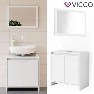 VICCO Badmöbel Set EMMA Weiß - Spiegel Waschtischunterschrank Badschrank - Bild 1