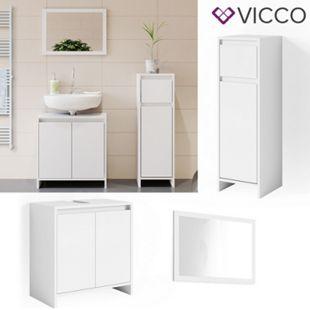 VICCO Badmöbel Set EMMA Weiß - Spiegel Waschtischunterschrank Midischrank Bad - Bild 1