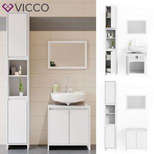 VICCO Badmöbel Set EMMA Weiß - Spiegel Waschtischunterschrank Hochschrank Bad - Bild 1