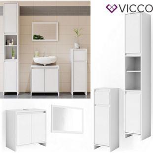 VICCO Badmöbel Set EMMA Weiß - Spiegel Waschtischunterschrank Midi Hoch Schrank - Bild 1