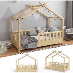 VITALISPA Kinderbett Hausbett DESIGN 70x140cm Natur Zaun Kinder Holz Haus Hausbett - Bild 1
