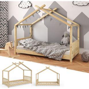 VITALISPA Kinderbett Hausbett DESIGN 80x160cm Natur Zaun Kinder Holz Haus Hausbett - Bild 1