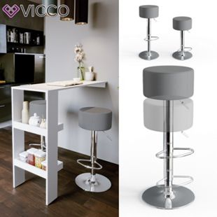 Vicco Design Barhocker 2er Set Grau Schminkhocker höhenverstellbar Drehstuhl - Bild 1