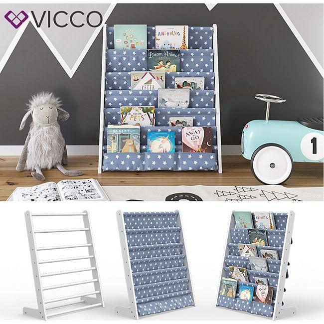 VICCO Kinderregal Weiß Kinderzimmerregal Spielzeugregal Bücherregal Hängefächerregal-Weiß - Bild 1