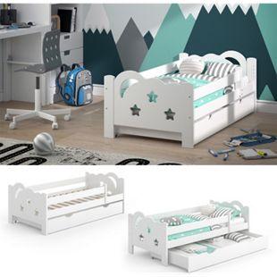 VitaliSpa Kinderbett Sari 140x70cm weiß mit Schubladen Jugendbett Rausfallschutz ohne Matratze - Bild 1