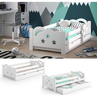 VitaliSpa Kinderbett Sari 160x80cm weiß mit Schubladen Jugendbett Rausfallschutz ohne Matratze - Bild 1