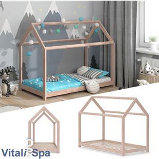VITALISPA Hausbett WIKI 80x160 Natur Kinderbett Kinderhaus Kinder Bett Holz - Bild 1
